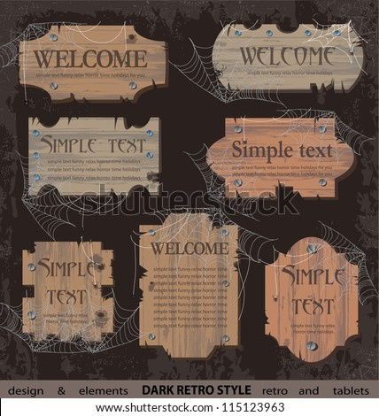 Dark wooden signboard, web elements set, banners and label - stock vector