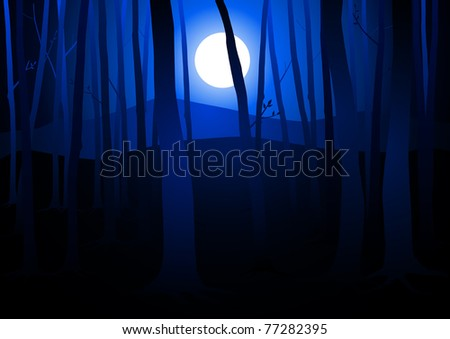 Dark Woods and Full Moon - stock vector