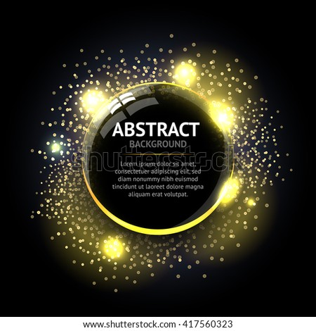 Dark yellow Abstract ring background. Metal chrome shine round frame with light circles and spark light effect. Vector sparkling glowing stainless steel cover. Space for your message. - stock vector