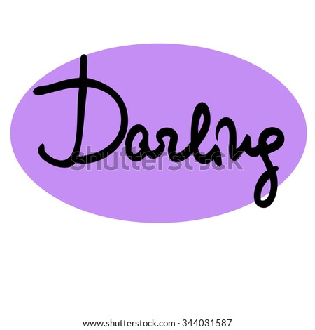 Darling calligraphy lettered decorative vector card - stock vector