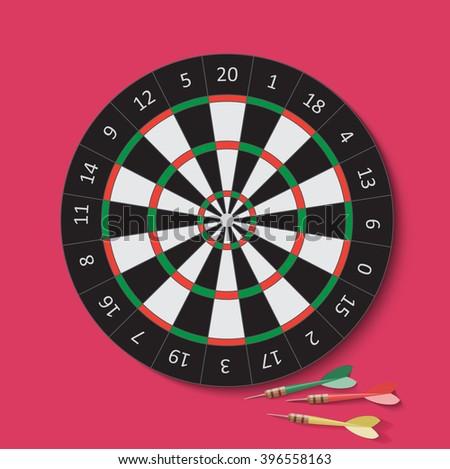 Dart and dartboard. Vector Illustration. Darts dartboard, Darts illustration,Darts vector, Darts shot, Darts image, Darts concept, Darts target, Darts arrows, Darts sport, Darts aim, Darts score - stock vector