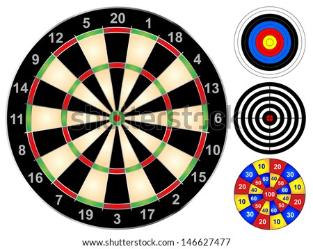 Dart board and other target games vector illustration - stock vector