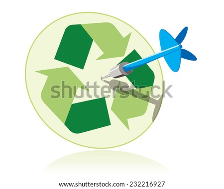 dart hitting target with recycle sign - stock vector