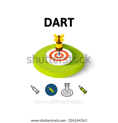 Dart icon, vector symbol in flat, outline and isometric style - stock vector