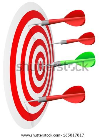 Dart's hit the bull's eye isolated on white background. - stock vector