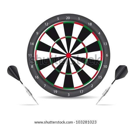 dartboard with black darts with shadow over white background. vector - stock vector