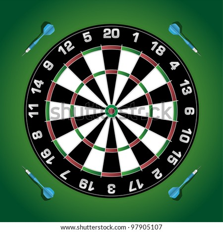 Dartboard with darts on green wall. Vector - stock vector