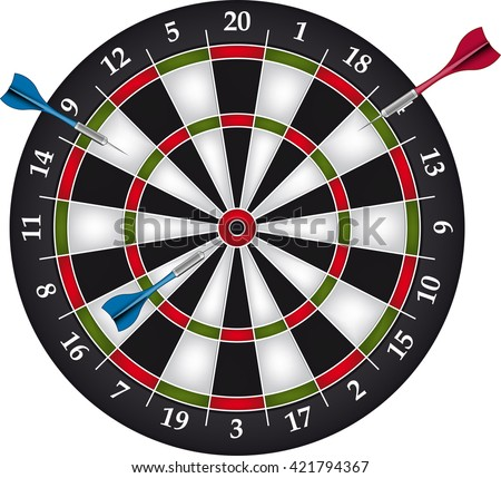 Dartboard with two darts - stock vector