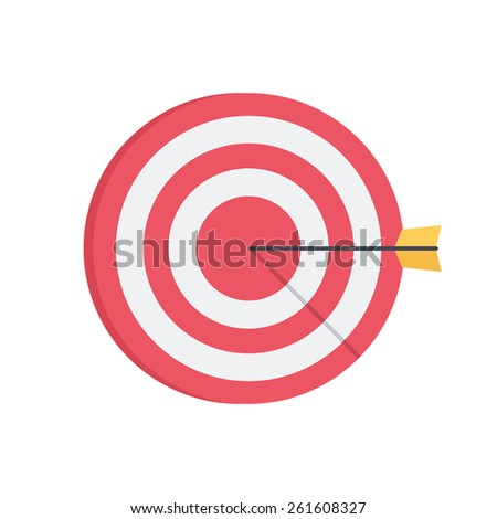 Darts aim board. Successful shot. Isolated icon pictogram. Eps 10 vector illustration. - stock vector