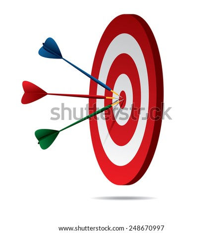 Darts Hitting A Target - stock vector