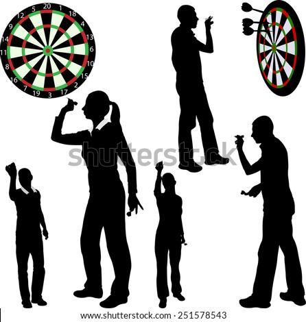 Darts players - vector - stock vector