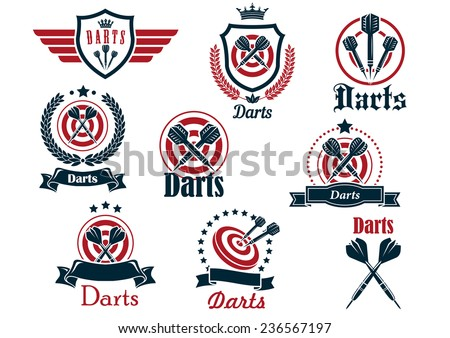 Darts sporting icons and emblems with arrows, target, ribbons, wreaths and decorations - stock vector