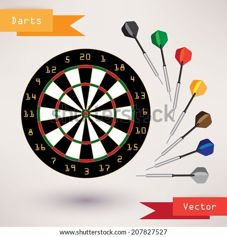 Darts Target and darts, vector illustration on white background - stock vector