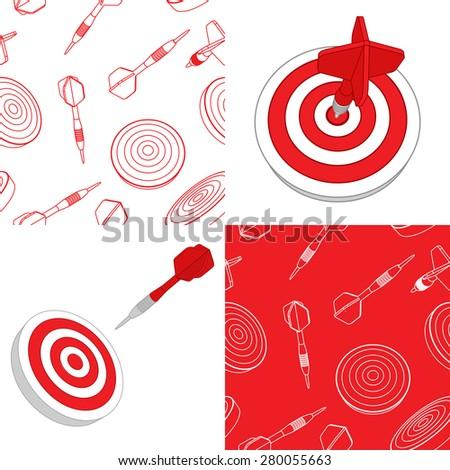 Darts target and seamless set - stock vector
