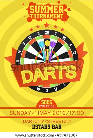 Darts Tournament Poster. Dartboard with dart in the center. Flat style. Vector Illustration. - stock vector