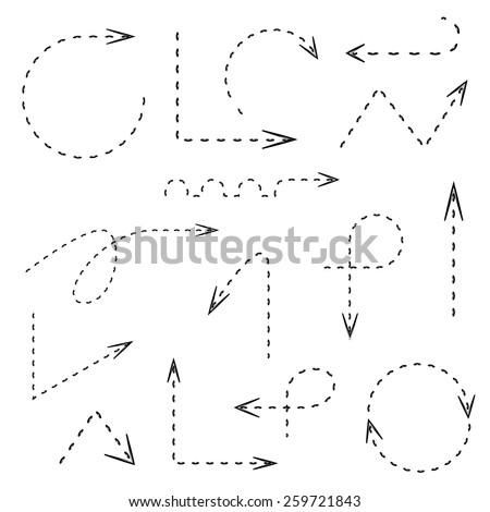 dash line arrows, hand drawn doodle arrows set, dot line arrows - stock vector