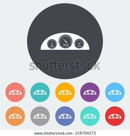Dashboard. Single flat icon on the circle. Vector illustration. - stock vector
