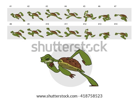 Dashing turtle. Classic animation of running turtle.  - stock vector