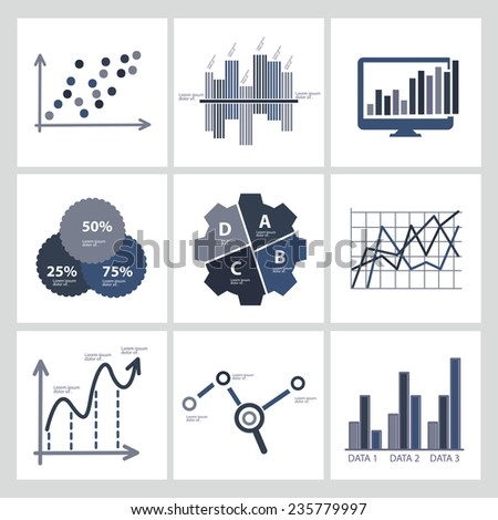 Data analysis,Business analysis icons,clean vector - stock vector