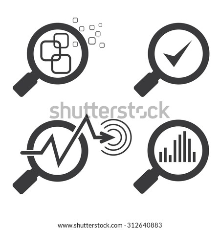 data analysis concept, magnifier glass and chart graph icons - stock vector