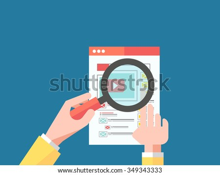 Data analysis concept on blue background. Magnifying glass with video player. Hand holding a magnifying glass at the monitor with the video in browser  - stock vector