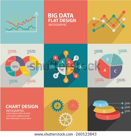 Data analysis design,flat icons,clean vector - stock vector