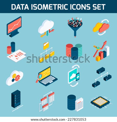 Data analysis digital analytics data processing icons isometric set isolated vector illustration - stock vector