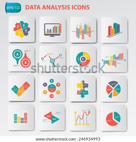 Data analysis icons on buttons,clean vector - stock vector