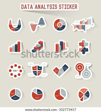 Data analysis icons, sticker design,vector - stock vector