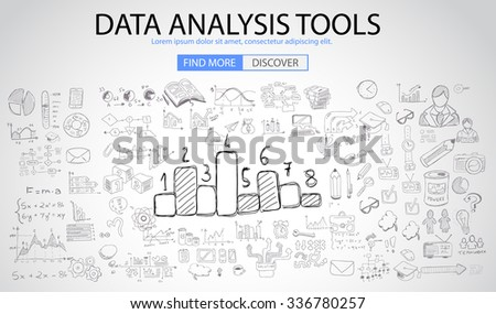 Data Analysis Tools with Doodle design style :finding solution, brainstorming, creative thinking. Modern style illustration for web banners, brochure and flyers. - stock vector
