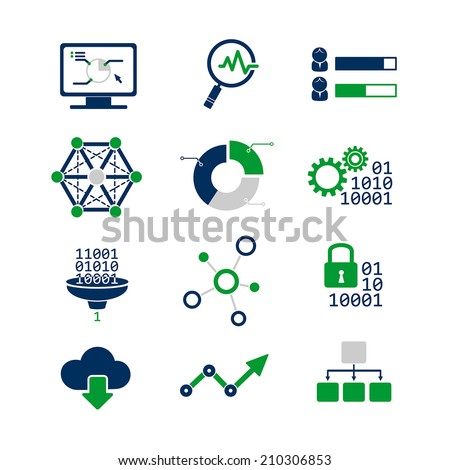 Data analytic icons set - stock vector