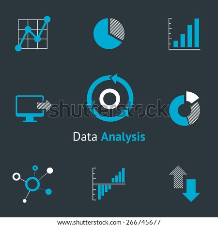 Data analytic icons set. Chart and diagram, infographic and progress. Vector illustration - stock vector