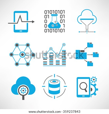 data analytics and network icons set, network analytics, information technology concept - stock vector