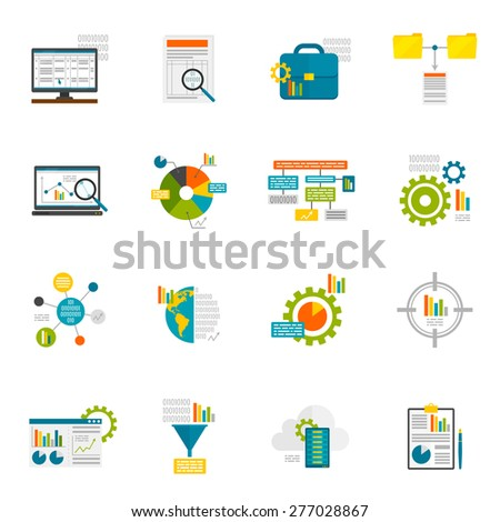 Data analytics computer database structure information analysis flat icons set isolated vector illustration - stock vector