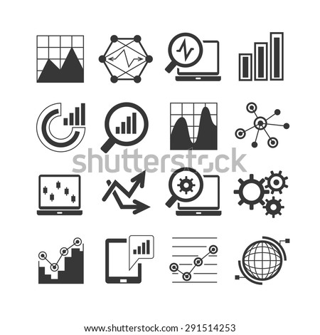 data analytics icons set - stock vector