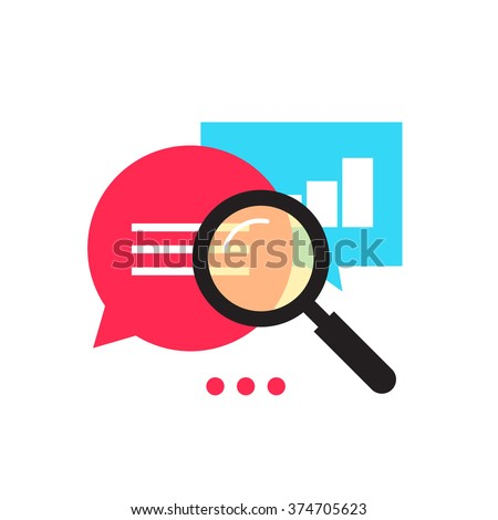 Data analytics vector icon, analyzing information statistic, search optimization, investigation process, analytics research diagram, bubble speech magnifier flat illustration design isolated on white - stock vector