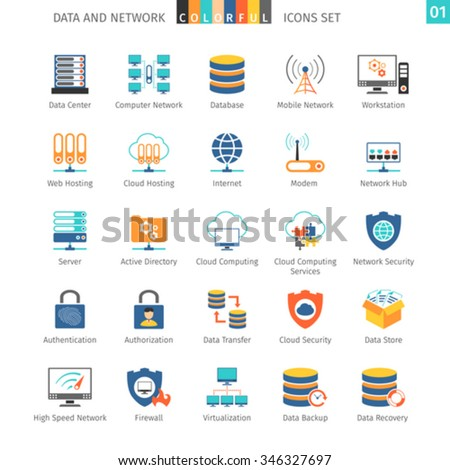 Data And Networks Colorful Icon Set 01 - stock vector