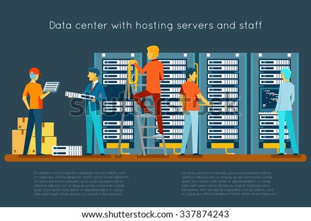 Data center with hosting servers and staff. Computer technology, network and database, internet center, communication security room, vector illustration - stock vector