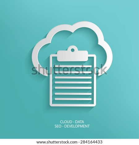 Data cloud design on blue background,clean vector - stock vector