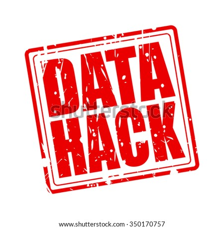 DATA HACK red stamp text on white - stock vector