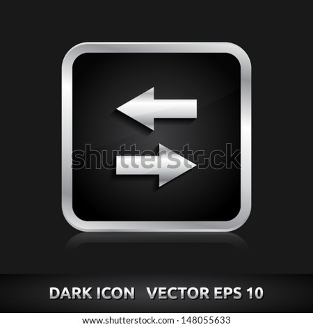 Data icon | color dark black silver metal grey white | icon set | abstract vector symbol | template design | shadows shiny | business button | abstract 3d - stock vector