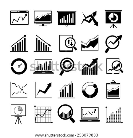 data icons, graph and chart icons - stock vector