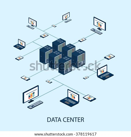 Data isometric set with data center and network elements vector illustration - stock vector