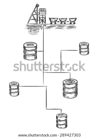 Data mining vector sketch illustration - stock vector