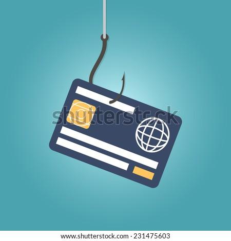 Data Phishing, credit or debit card on fishing hook, internet security. Flat design vector illustration - stock vector