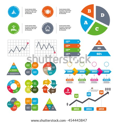 Data pie chart and graphs. Food, sleep, camping tent and fire icons. Knife, fork and dish. Hotel or bed and breakfast. Road signs. Presentations diagrams. Vector - stock vector