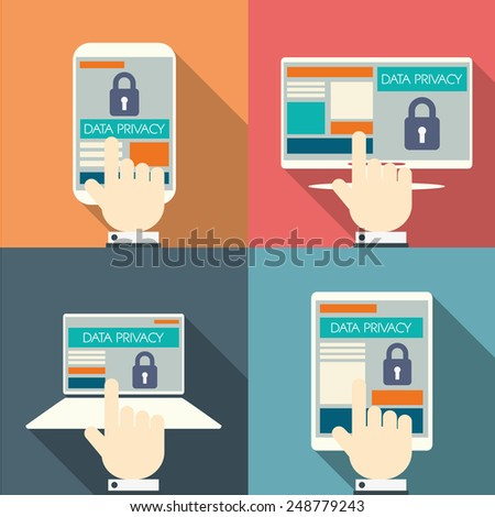 Data privacy in cloud computing technology with digital devices icons and applications for computers. Eps10 vector illustration - stock vector