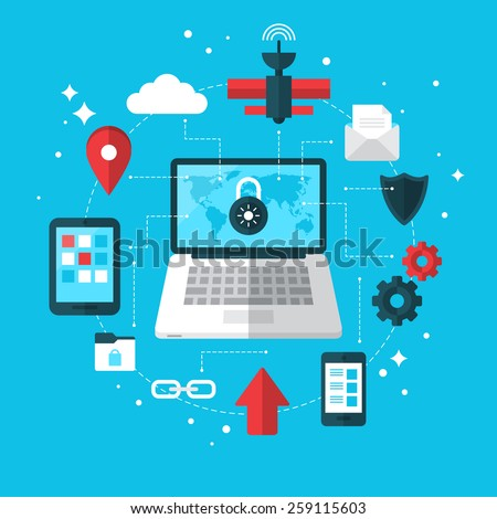 Data protection and VPN concept with flat modern icons - stock vector