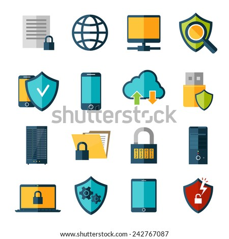 Data protection database safe access online security icons set isolated vector illustration - stock vector