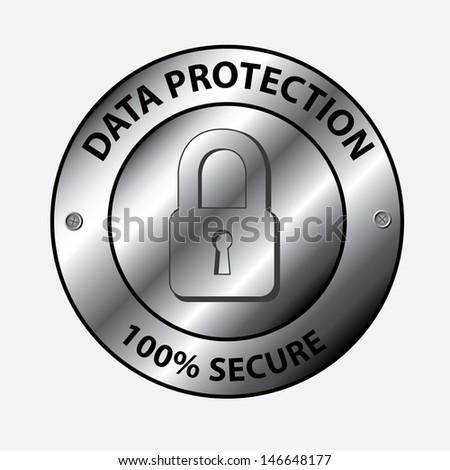 data protection design over white background vector illustration  - stock vector